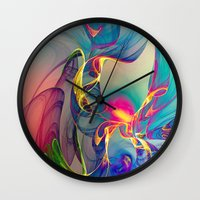 sunrise Wall Clocks featuring Sunrise by Klara Acel