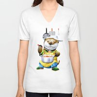 cooking V-neck T-shirts featuring A sea otter cooking by FACTORIE