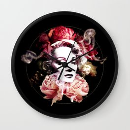 Marlene With Flowers Wall Clock