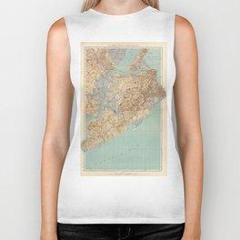 Vintage Map of Staten Island (1891) Biker Tank