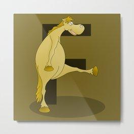 Pony Monogram Letter F Metal Print