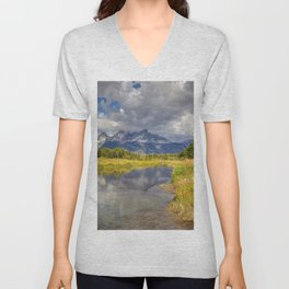 The Grand Tetons Panorama Unisex V-Neck