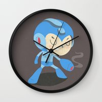 mega man Wall Clocks featuring Mega Man by Rod Perich