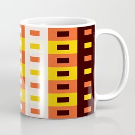 Geometric Pattern 74 (orange stripes squares) Coffee Mug