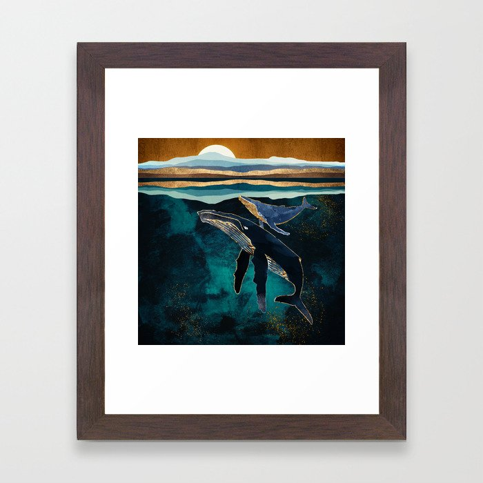 Moonlit Whales Framed Art Print