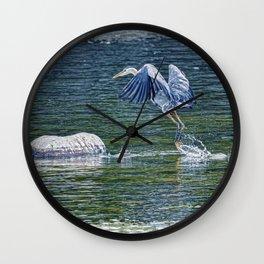 Heron's Leap - Great Blue Heron Wall Clock