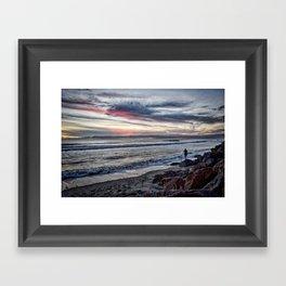 Sunset Surfer, Oceanside, California Framed Art Print
