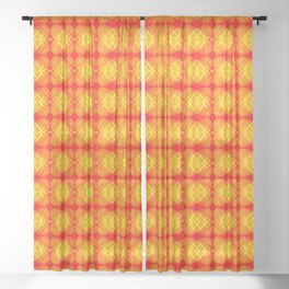 Striped yellow hearts on a red background. Sheer Curtain