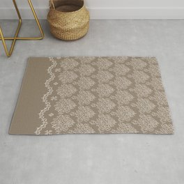 Coffee Color Damask Chenille with Lacy Edge Rug