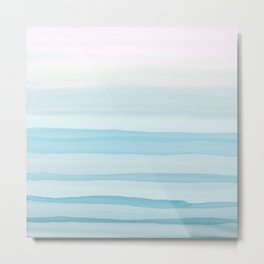 Watercolor pink and blue Metal Print