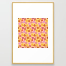 Hibiscus Hawaiian Flowers in Pinks and Corals on Yellow Framed Art Print