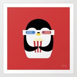 Penguin + Movie Time Art Print