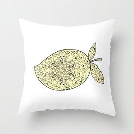 Juicy Mango Fruit Mandala Throw Pillow