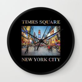 Times Square Sparkle (with type on black) Wall Clock