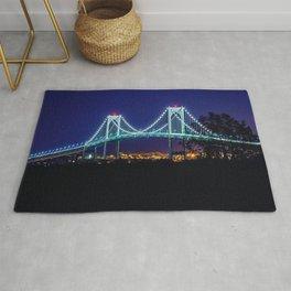 Newport Bridge, City Lights, Newport, Rhode Island landscape painting by Jeanpaul Ferro Rug