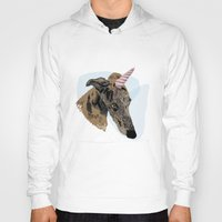 greyhound Hoodies featuring greyhound unicorn by Ingrid Winkler