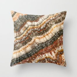 Agate Crystal // Red Gray Black Yellow Orange Marbled Diamond Luxury Gemstone Throw Pillow