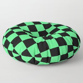 Black and Green Checkerboard Pattern Floor Pillow