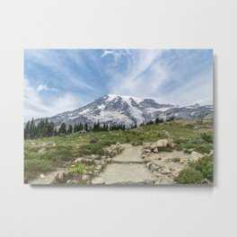 Trail Up Rainier Color Metal Print