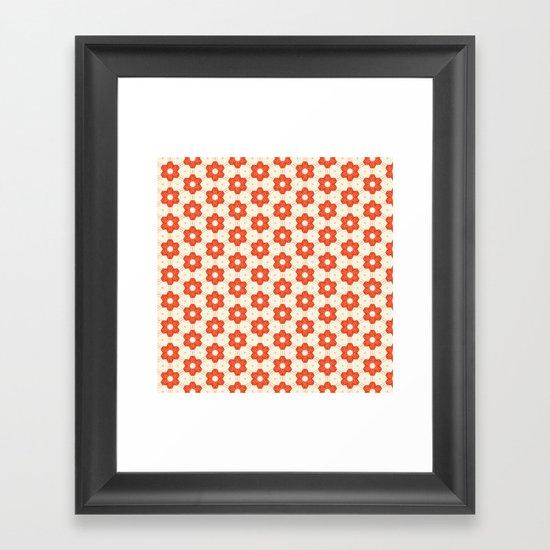 Retro Red Flower Framed Art Print