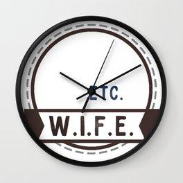 W.I.F.E. - wife, milf - WHITE Wall Clock