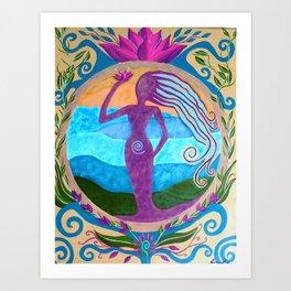 She Heals - Purple Goddess Art Nouveau Style Painting Art Print