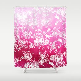 Chic white roses fuchsia watercolor pattern Shower Curtain