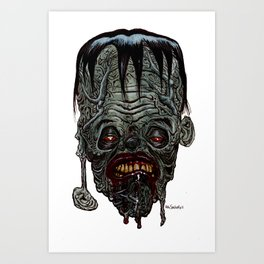 Heads of the Living Dead Zombies: Blockhead Zombie Art Print