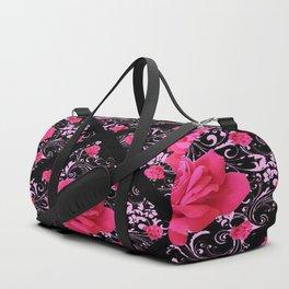 FUCHSIA PINK ROSE BLACK BROCADE GARDEN ART Duffle Bag