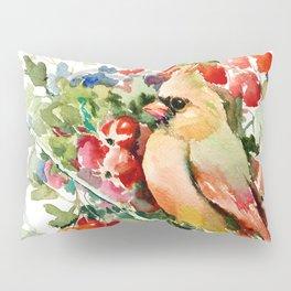 Cardinal Birds and Hawthorn, Cardinal Bird Christmas Design art floral bird decor Pillow Sham