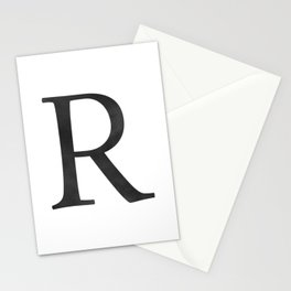 Letter R Initial Monogram Black and White Stationery Cards