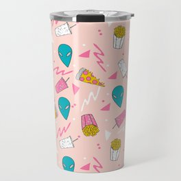 Alien outer space cute aliens french fries rad sodas pattern print pink Travel Mug