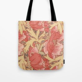William Morris Poppies Floral Art Nouveau Pattern Tote Bag