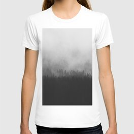 Minimalist Modern Black And white photography Landscape Misty Black Pine Forest Watercolor Effect Sp T-shirt