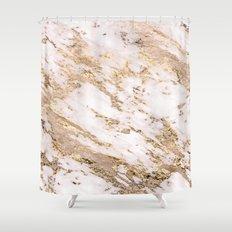 Golden smudge - blush marble Shower Curtain