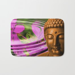 Buddha Head & Flowers in Rippling Water Bath Mat