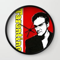 tarantino Wall Clocks featuring Quentin Tarantino in Color by Carolyn Campbell