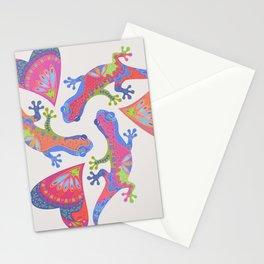 3 Gekkos Playing Stationery Cards