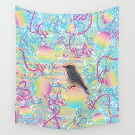 Summery Bubbly Bird Wall Tapestry