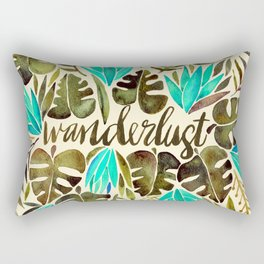 Tropical Wanderlust – Turquoise & Olive Rectangular Pillow