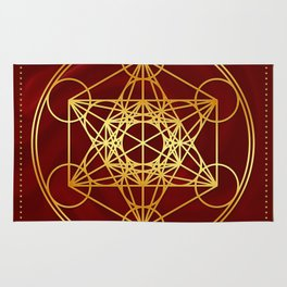 Metatrons Cube, Flower of life, Sacred Geometry Rug