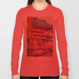 Japanese Woodblock Print Vintage Bright East Asian Red Pagoda Spring Garden Long Sleeve T-shirt