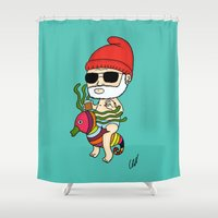 zissou Shower Curtains featuring Zissou Crayon Ponyfish by kaylieghkartoons