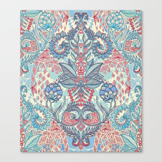 Botanical Geometry - nature pattern in red, blue & cream Canvas Print