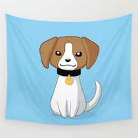 beagle Wall Tapestries featuring Beagle by Freeminds
