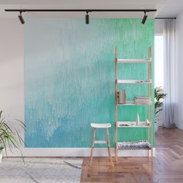 Rainforest - Blue & Green Glitch Wall Mural