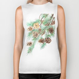 pine cones watercolor Biker Tank