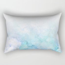 Fresh Blue and Aqua Ombre Frozen Marble Rectangular Pillow