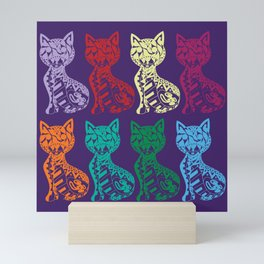 Folk Cats on paper film Mini Art Print