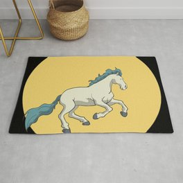Wild horse in front of the moon Rug